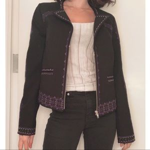 Juicy Couture Denim Jacket With Purple Embroidery